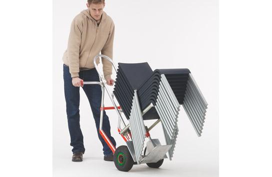 Aluminium-Stapelkarre mit klapp- und höhenverstellbarem Bügel für Stühle