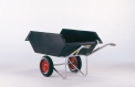 Push-barrow with a tilting plastic container
